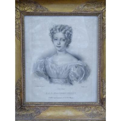 Princesse Louise d'Artois, Gravure Epoque Restauration, d'Après Charles Achille d'Hardiviller