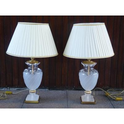 Pair Of Frosted Crystal Lamps, Presidential Suite Grand Hotel In Paris