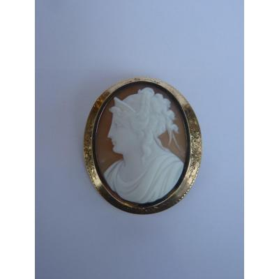 Neoclassical Gold Cameo Shell Brooch, Lady With Tiara, 19th Century