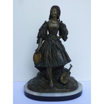 Jeune Femme Romantique au Tambourin, Bronze Attribué à Théodore Gechter, Vers 1830