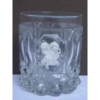 Baccarat, Gobelet avec Cristallocérame Rébus, Pensez à Moi, Epoque Restauration
