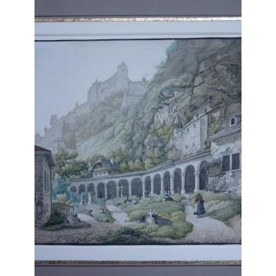 Franz Barbarini (1804-1873) Vue de Salzbourg, Aquarelle 1829