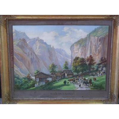 Ecole Suisse Vers 1820, Vallée de Lauterbrunnen, Gravure Aquarellée