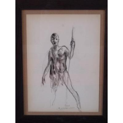 Paul Daxhelet (1905-1993) Africain à La Lance, Dessin Signé