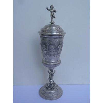 Pokal Aux Amours, Sterling Silver, Renaissance Style, 19th Century