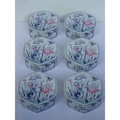 Lot de 6 Boites Octogonales, Décor Colibris et Iris, Porcelaine du Japon