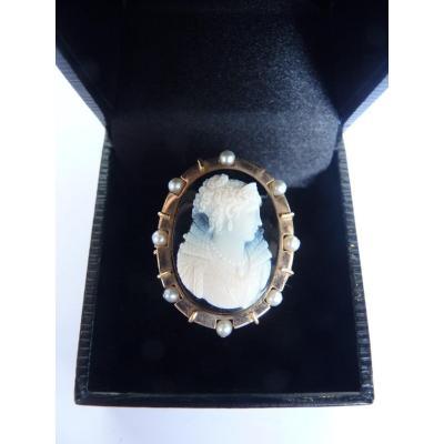 Importante Bague Camée, Or, Onyx & Perles Grises, Vers 1940