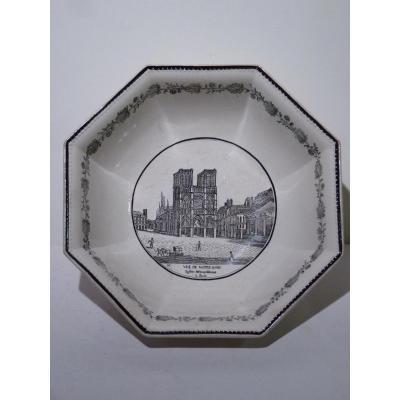 Coupe Notre-Dame de Paris, Faïence Fine de Choisy, Manufacture Paillard & Hautin, 19e Siècle