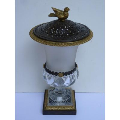 Medici Pot-pourri Vase, Baccarat Crystal And Bronze, Charles X Period