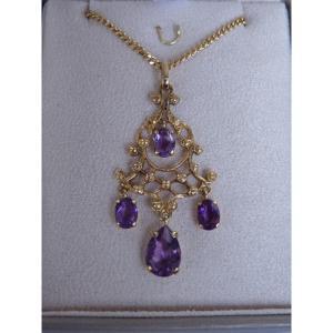 18k Yellow Gold Necklace, Amethyst Girandole Pendant