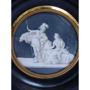 Attributed To Jacques-joseph De Gault (1738-1812) Miniature Grisaille, Allegorical Maritime Scene