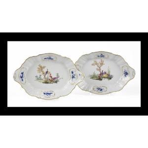 Rare Pair Of Trays, Meissen Porcelain, 18th Century