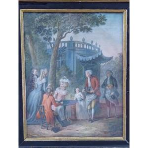 Snack In The Neoclassical Temple, Gouache, Louis XVI Period