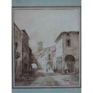 Justin Ouvrié (1806-1879) View Of Bologna, Drawing, 1833