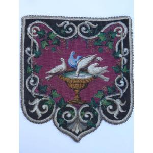 The Doves Of Pliny, Beaded Embroidery, England Victorian Period