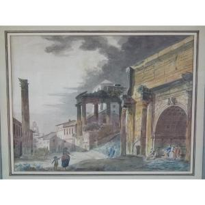 Rome, Arch Of Septimius Severus, Watercolor Attributed To Thomas De Thomon, Late 18th Century