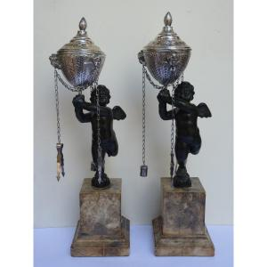 Rare Pair Of Library Lamps, Italy Early 19th Century