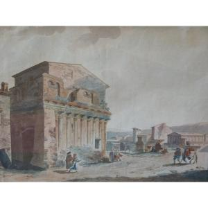 Rome, House Of Pilate, Watercolor Attributed To Thomas De Thomon, Late 18th Century