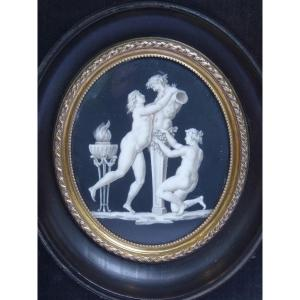 Offering To Pan, Grisaille Neoclassical Miniature, Early 19th Century