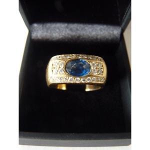 Bandeau Ring, Sapphire & Diamonds, 18k Yellow Gold, 1980s