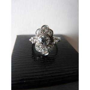 Belle Epoque Marquise Ring, Diamonds And 18k White Gold