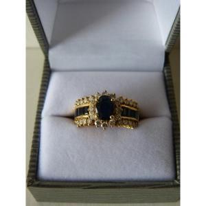 Sapphires & Diamonds Ring, 18k Yellow Gold, 1980s
