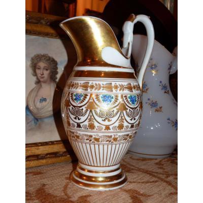 In Paris Porcelain Ewer, Decor Myosotis, Restoration Period