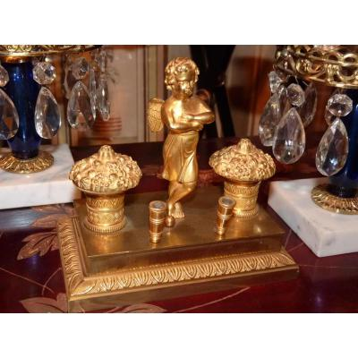 Gilt Bronze Inkwell, Decorated With Love, When Charles X