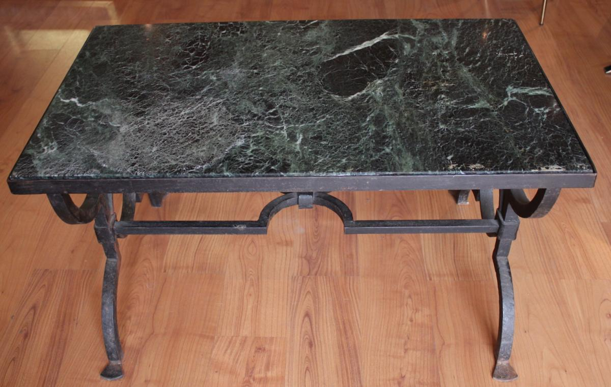 A Gilbert Poillerat Wrought Iron Coffee Table Circa 1940