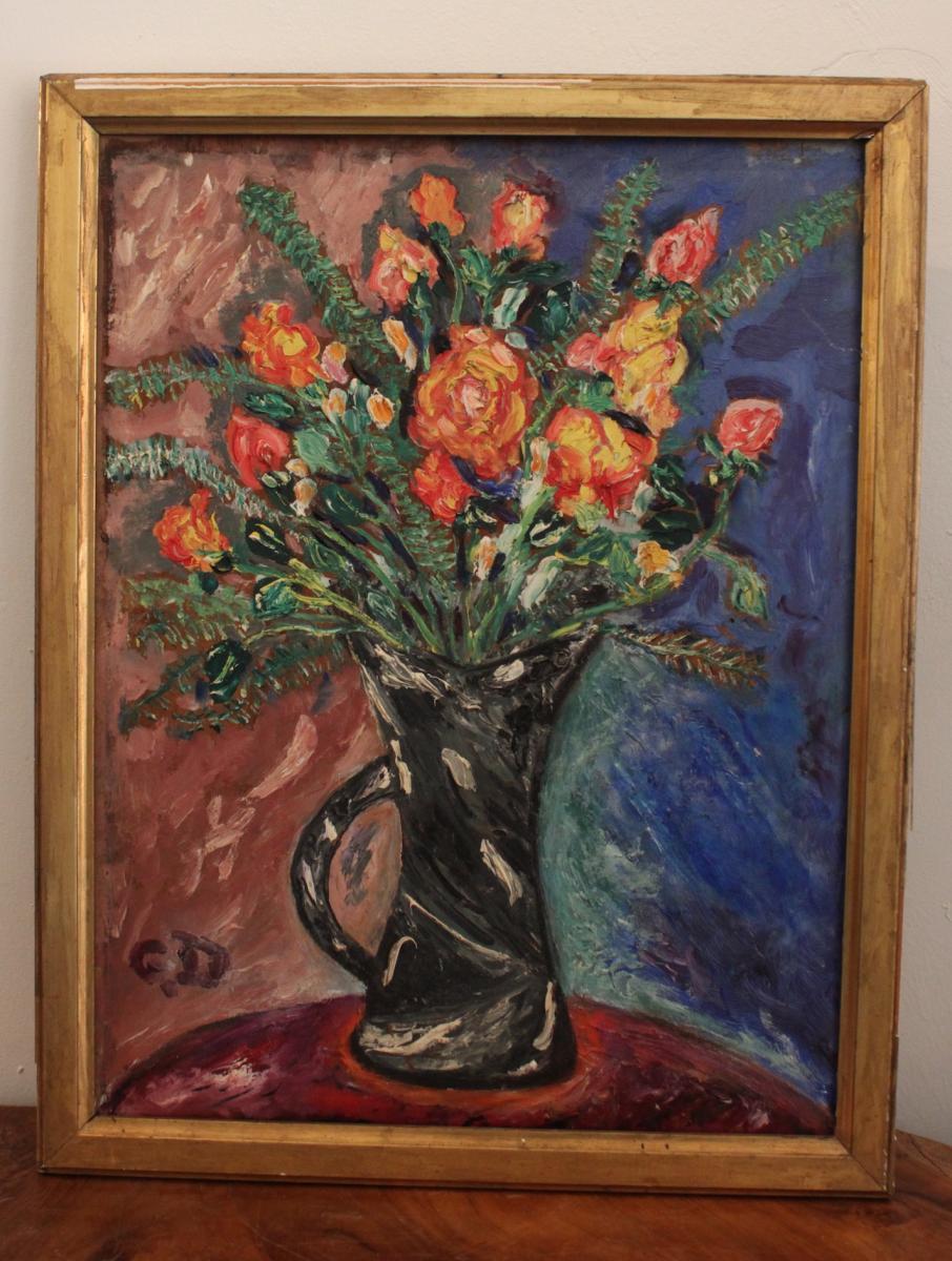 Bouquet De Fleurs Debut XXème, Monogrammé