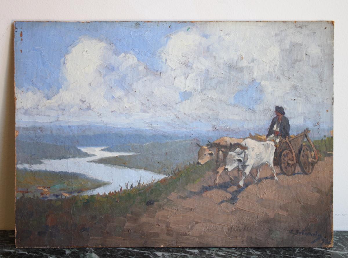 Early 20th Century Landscape By Romanian Painter Ion Dobosariu