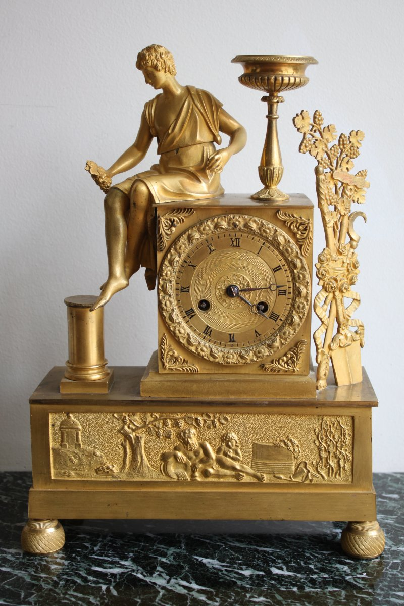 French Restauration Bacchus Clock