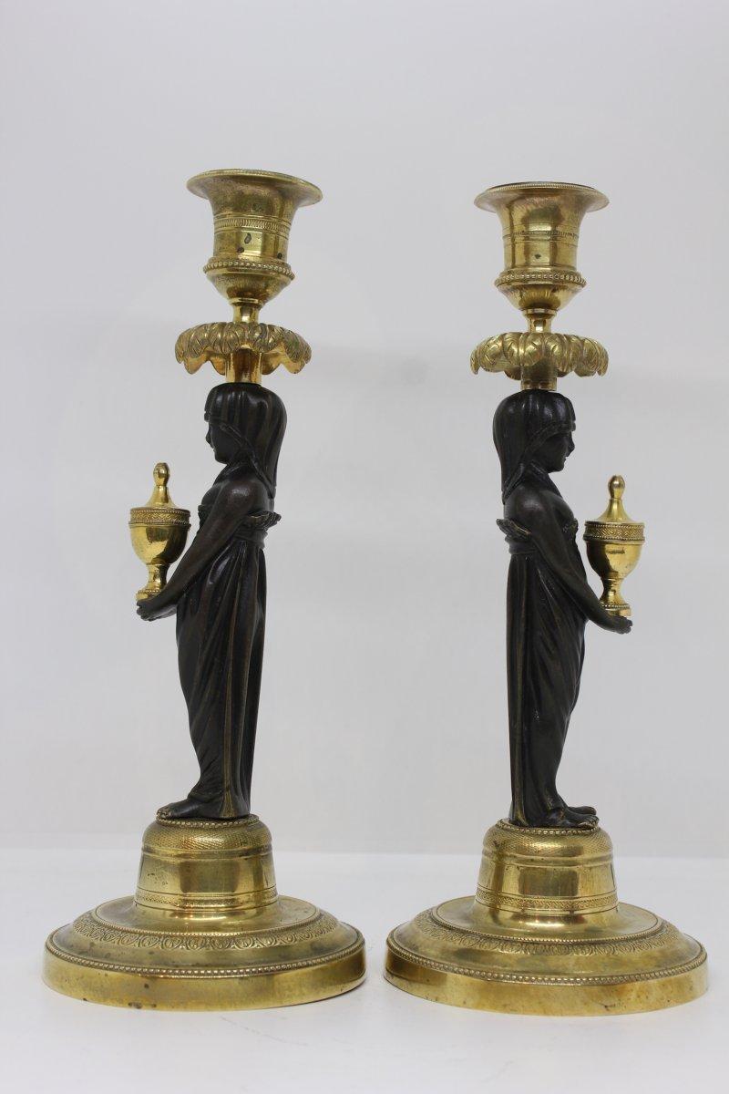 Paire De Bougeoirs Inspiration Egyptienne époque XIXème