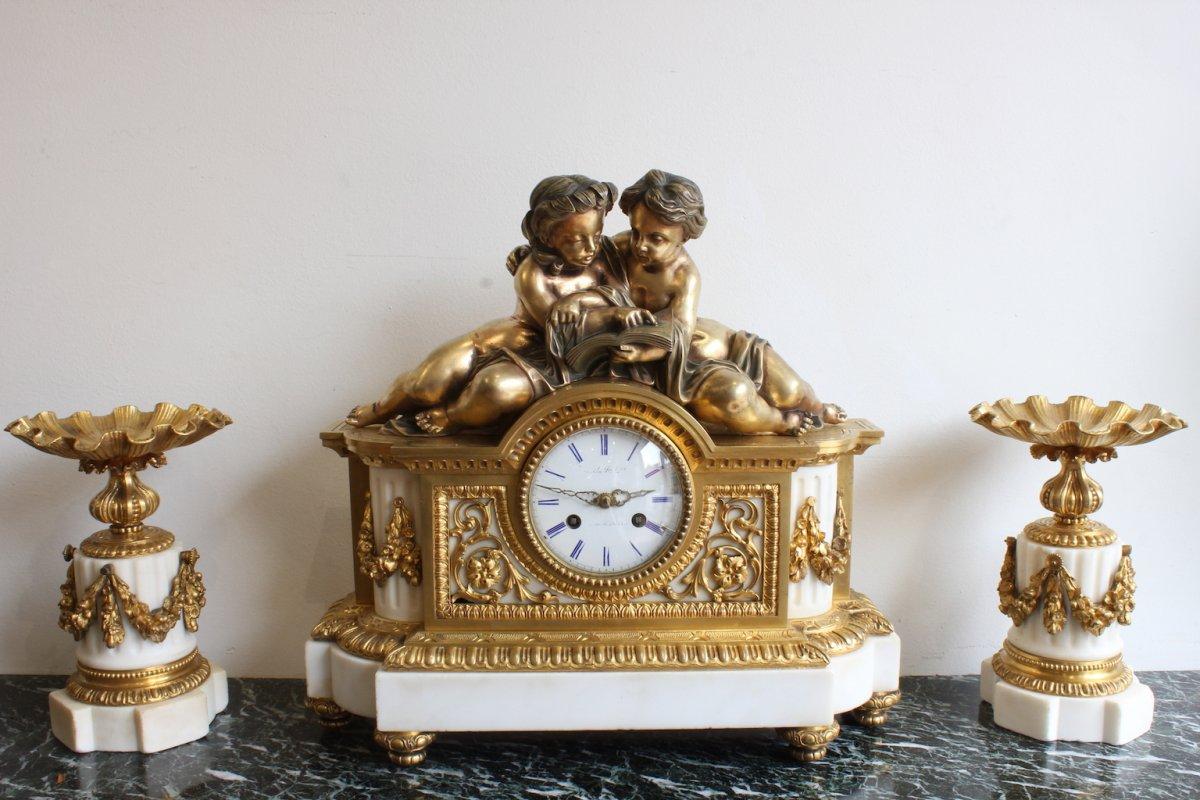 Garniture Napoléon III Deux Amours à La Lecture