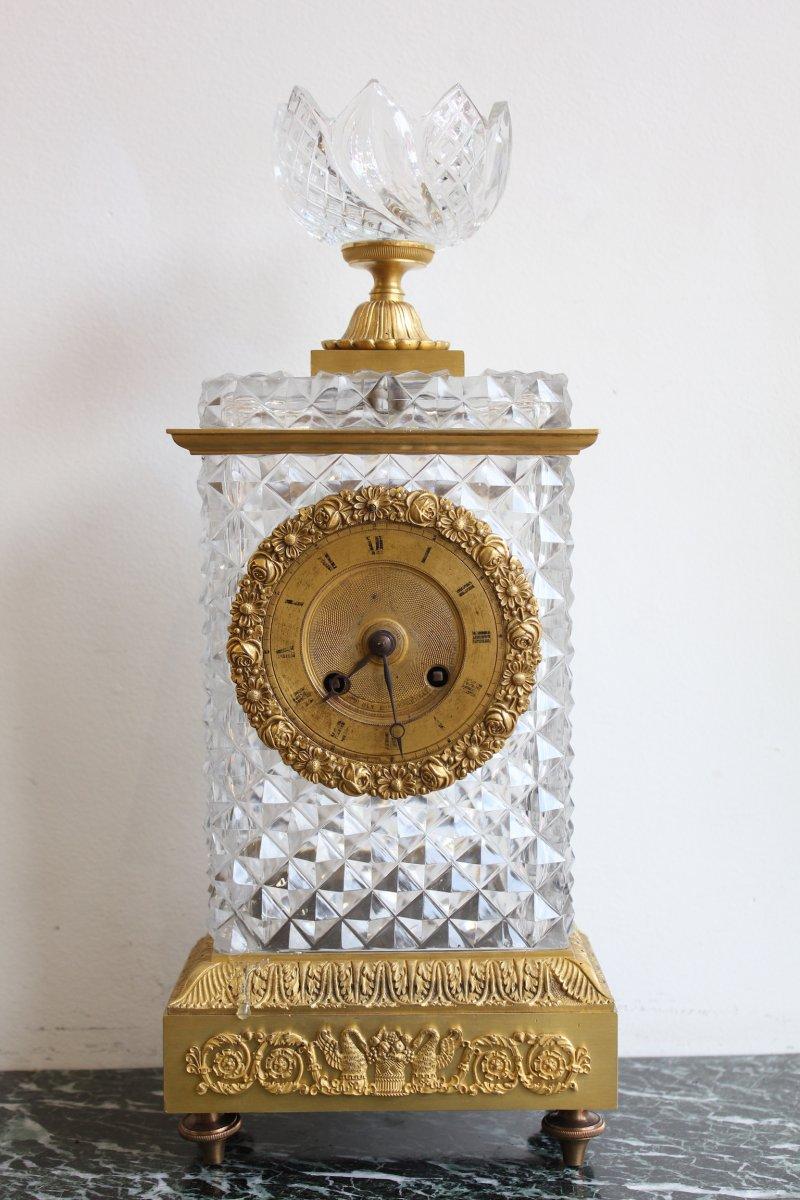Pendule En Cristal De Baccarat OUDIN élève de BREGUET XIXème