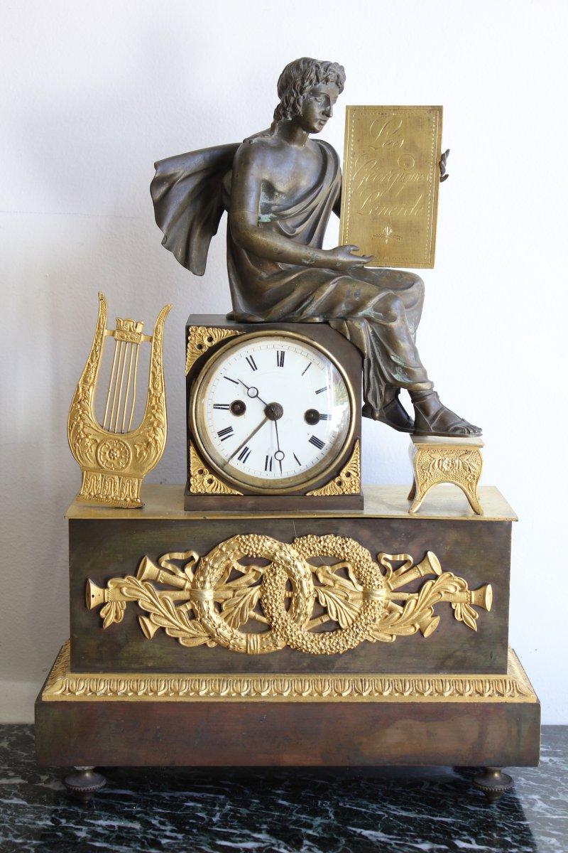 Pendule Empire En Bronze Doré  XIXème Siècle