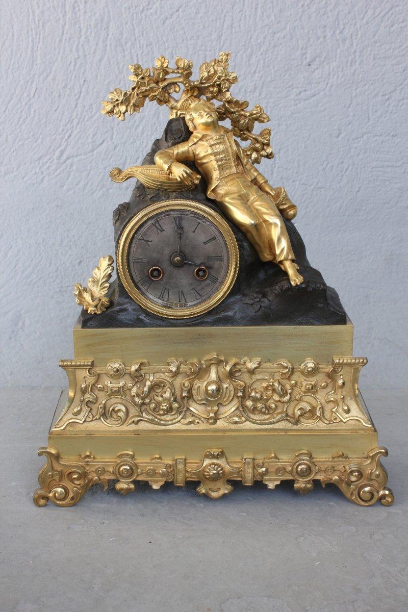 Pendule Joueur De Violon Endormi en Bronze Doré  Fin XIXème