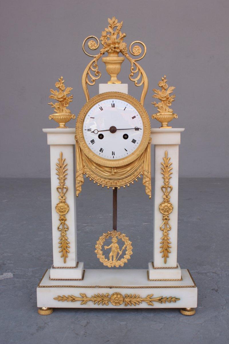 19th C. Marble And Bronze Portico Clock