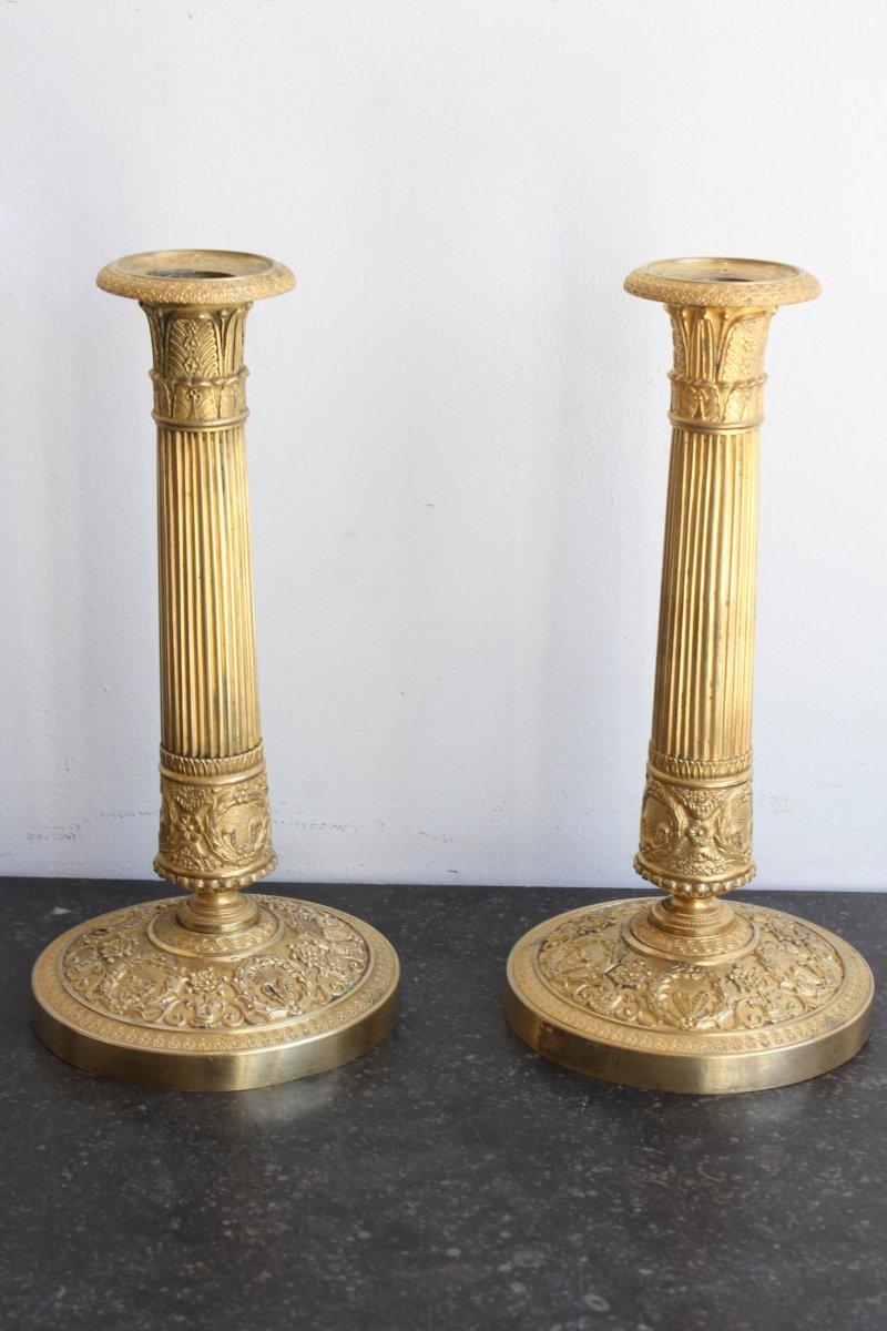 Pair Of Candlesticks In Gilt Bronze XIXth Century