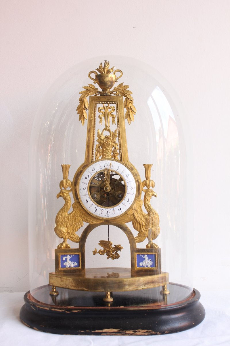 Skeleton Clock  With Phoenix Decor Directoire Period