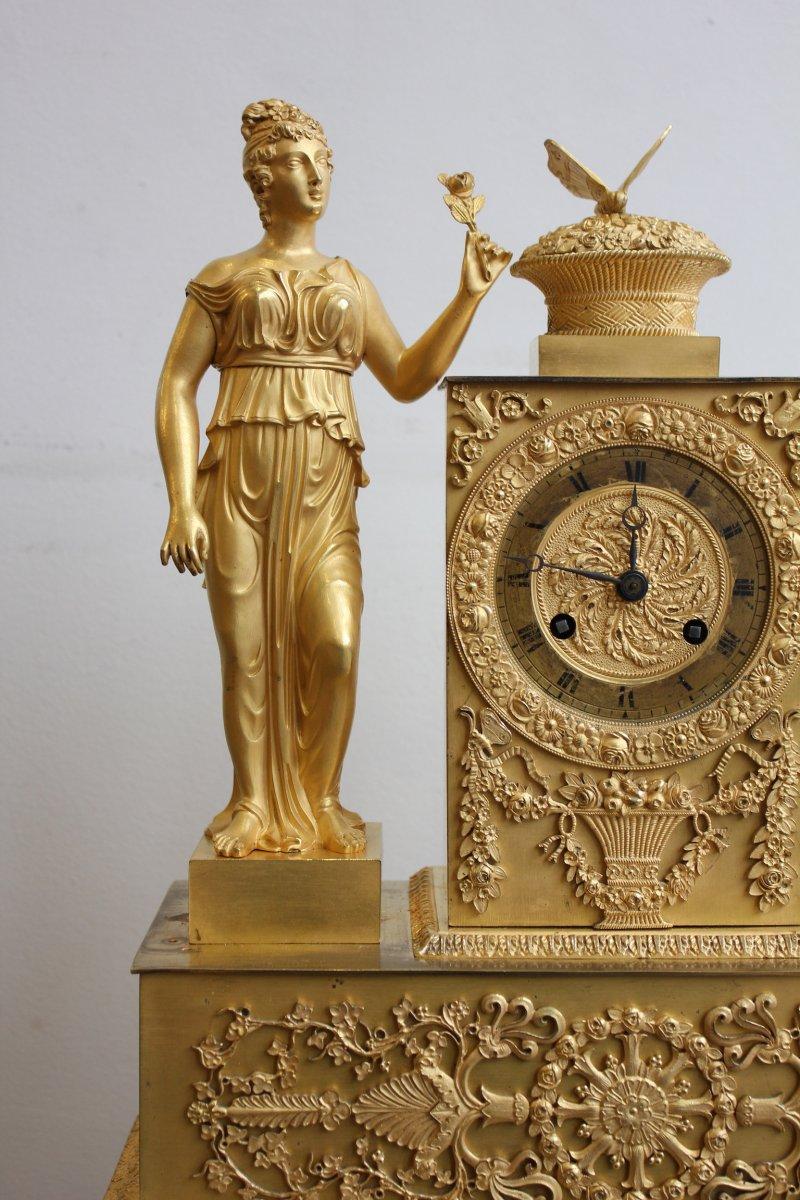 Pendule  Femme  à l'Urne Et Au Papillon Epoque XIXème-photo-2