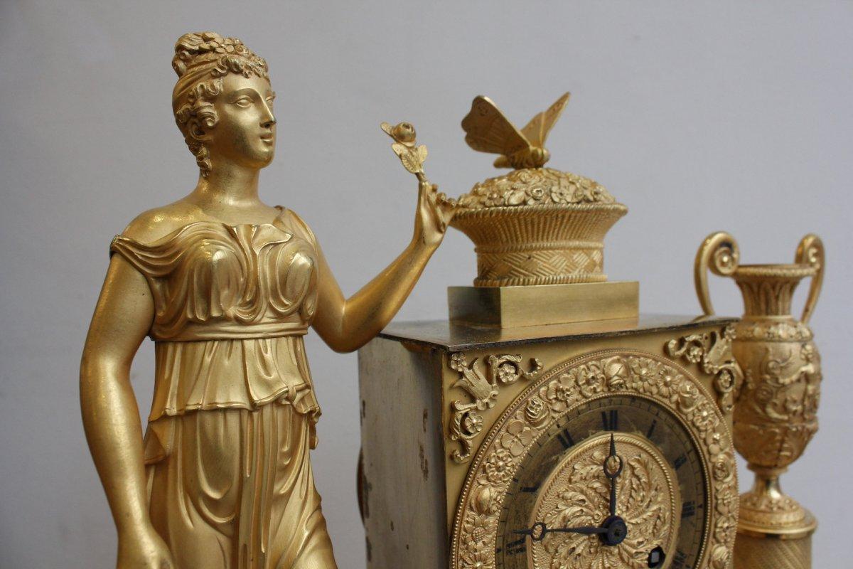 Pendule  Femme  à l'Urne Et Au Papillon Epoque XIXème-photo-4