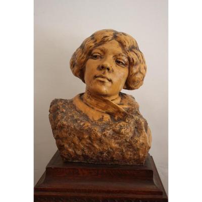 Buste De Sarah Bernhardt Par Auguste Carli ( 1868 - 1930 )