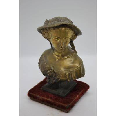 Bronze Femme Au Chapeau Epoque XIXème