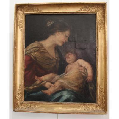 Tableau Vierge à l'Enfant époque XIXème