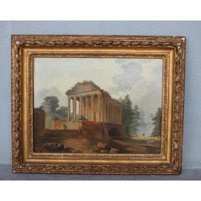 Tableau époque XIXème Temple Antique