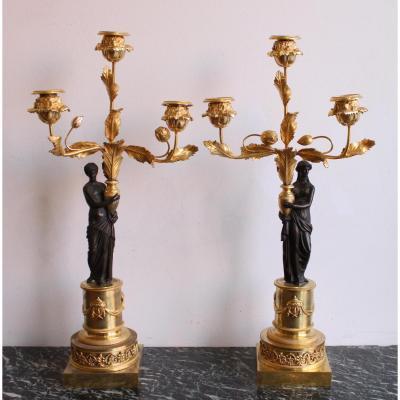 Paire De Chandeliers d' Epoque Louis XVI