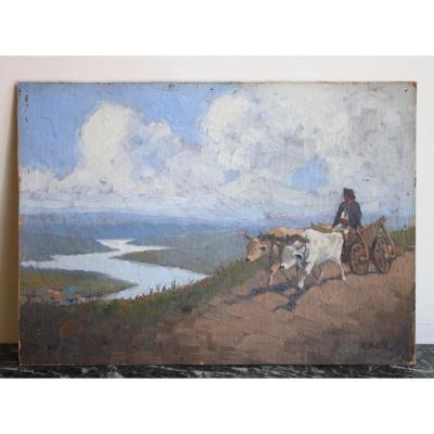 Peintre Roumain Ion Dobosariu Paysage Début XXème