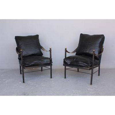 1940 Adnet Or Poillerat Pair Of Armchairs
