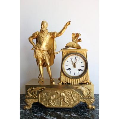 Pendule d' Epoque Restauration Décor d' Henri IV